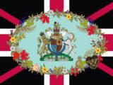 Stemma reale del Regno Unito al centro e ghirlanda simbolo dei componenti del Commonwealth, tranne la Scozia, che scompare dalla bandiera.