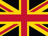 Via la croce di S. Andrea bianca su campo blu, scozzese. Il blu diventa nero e il bianco diventa giallo, i colori di San Davide, patrono del Galles.